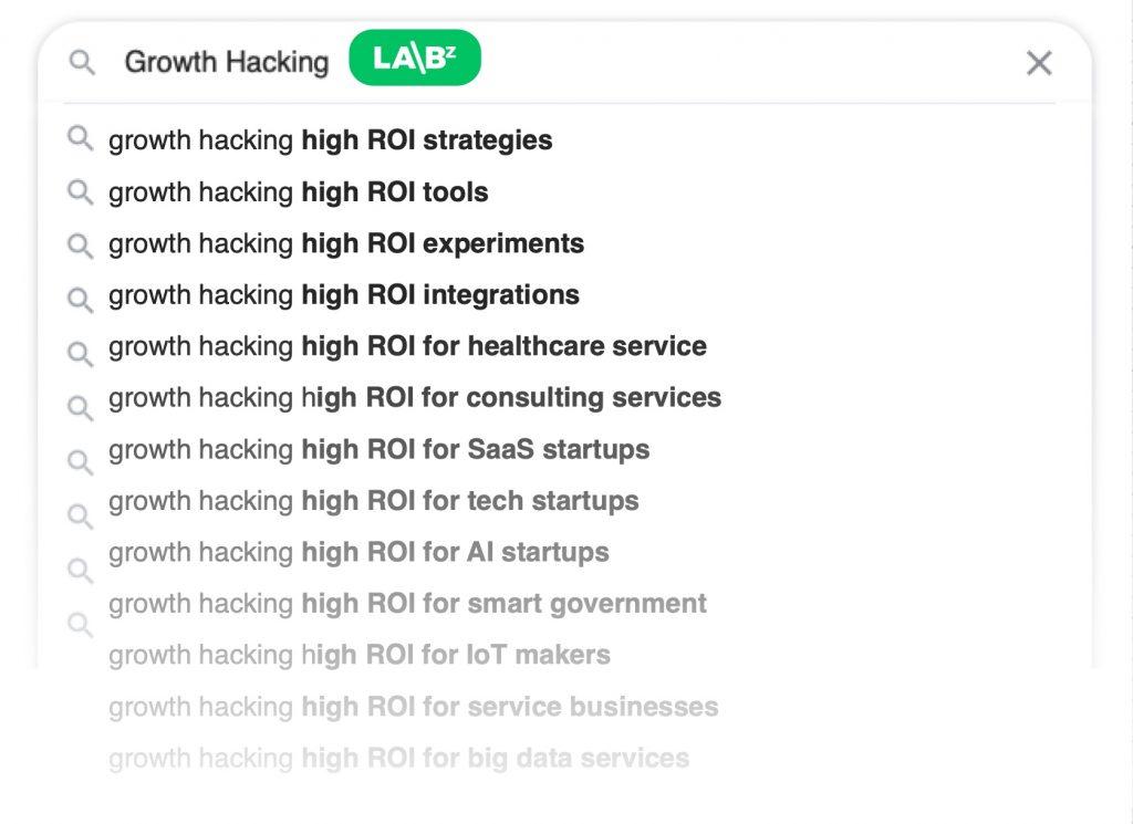 Growth Hacks Search dropdown